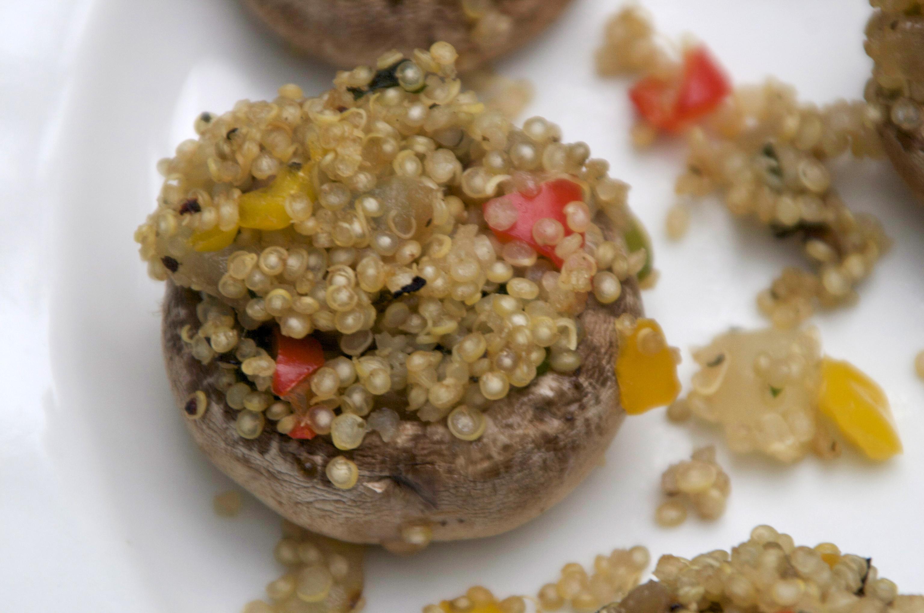 Spicy Vegan Quinoa Stuffed Mushrooms   The Pescetarian and The Pig
