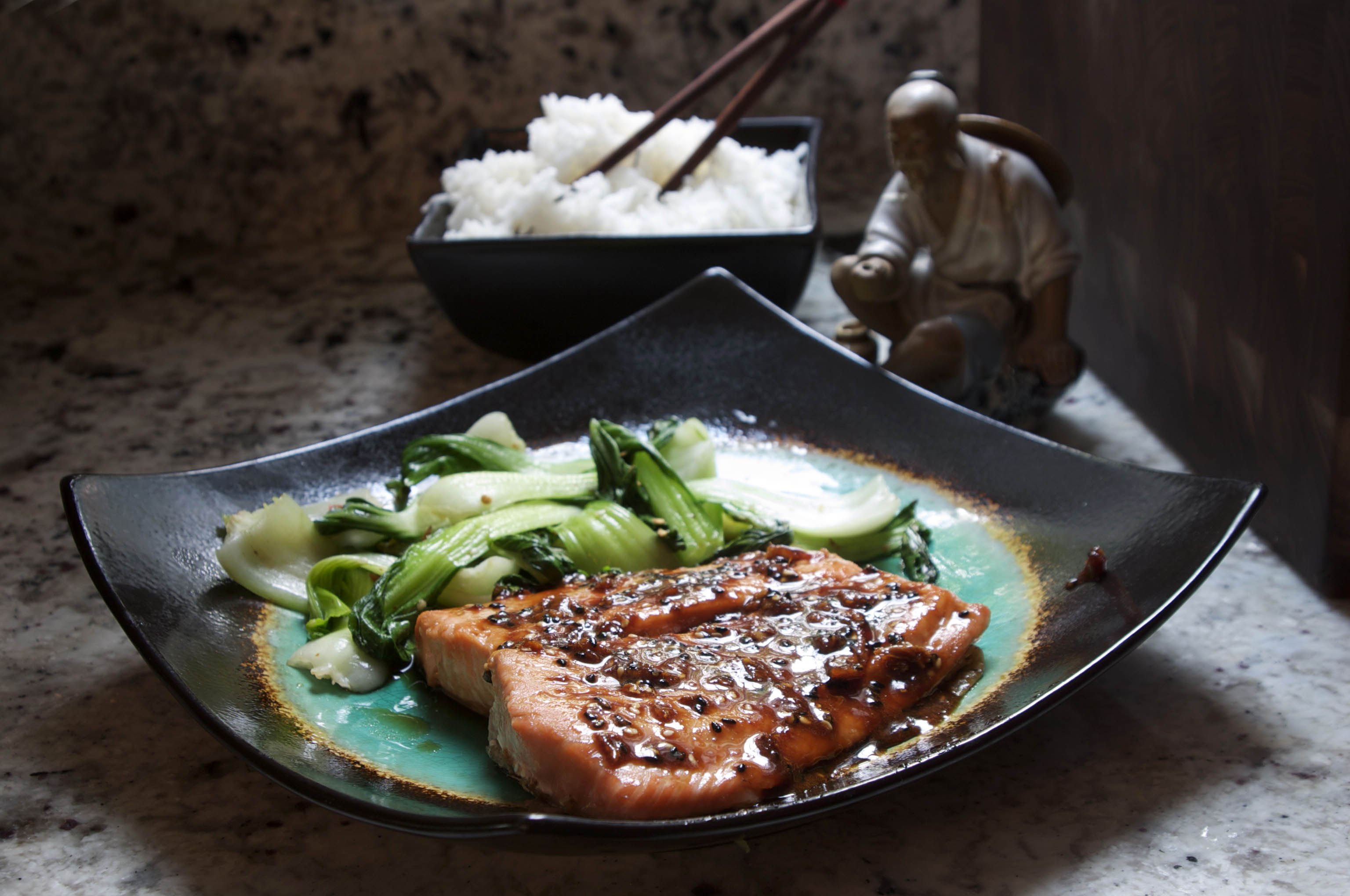 Honey Ginger Salmon with Spicy Baby Bok Choy | The Pescetarian and the ...