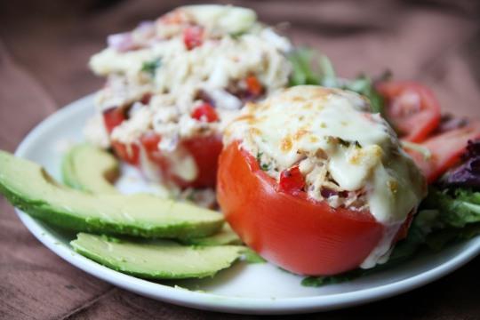 Breadless Tuna Melt in a Tomato